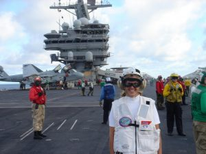 Becky on aircraft carrier